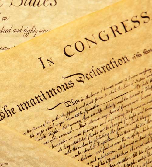 Decalration of Independence written on hemp paper
